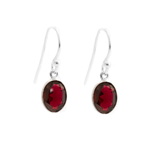 Faceted Garnet Oval Earrings SSE-F2GA