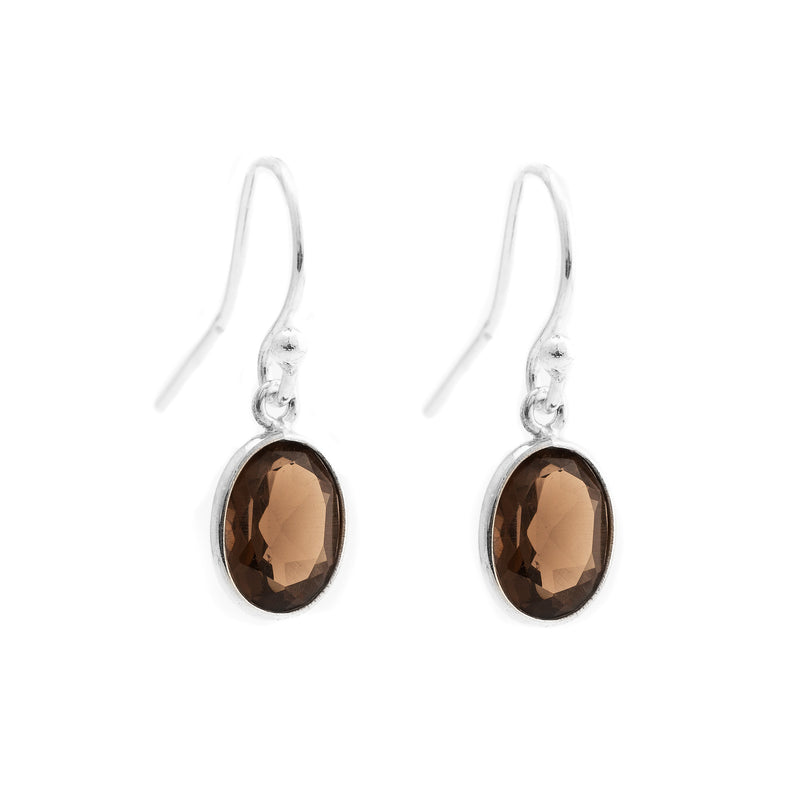 Faceted Smoky Quartz Oval Earrings SSE-F2SQ