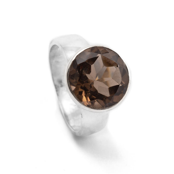 Smoky Quartz Round Silver Ring SSR-G231SQ