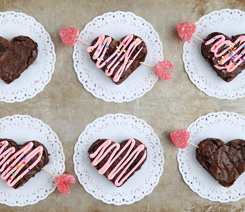 heart brownies for valentines day