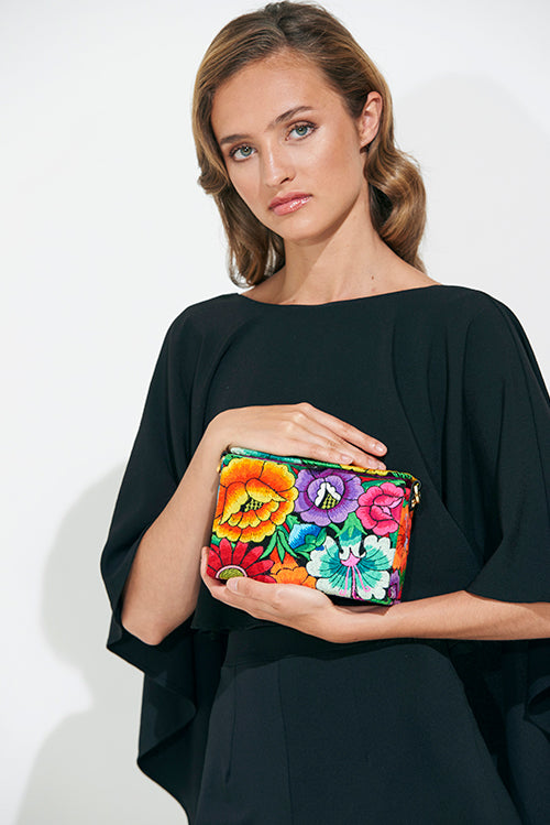 Flower Embroidered Box Bag
