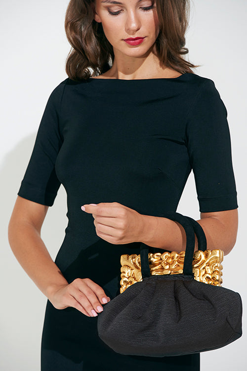 Gold and Black Colonial Square Handbag