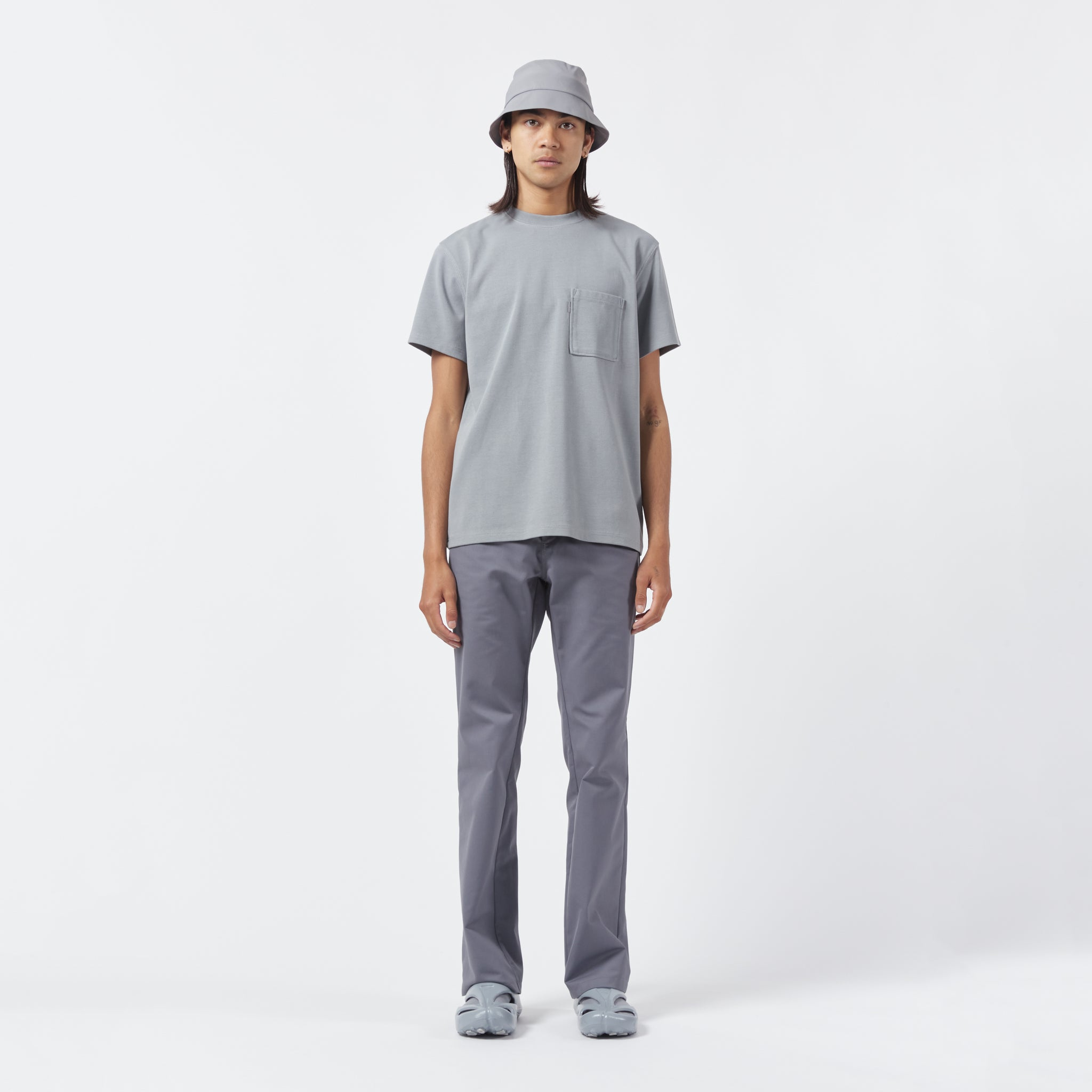 AFFIX WORKS AFFX WRKS STANDARDISED LOGO POCKET T-SHIRT SILVER GREY