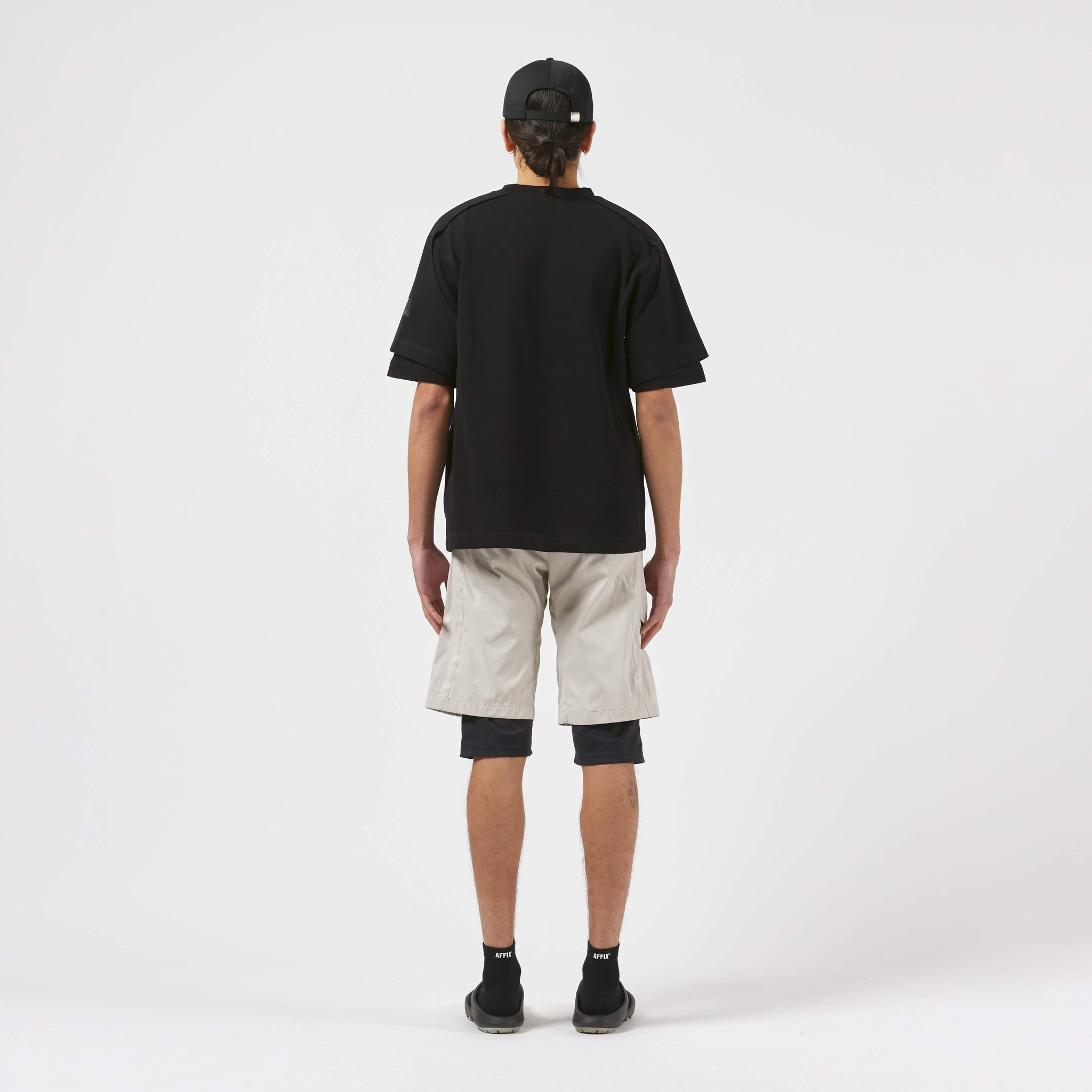AFFX WRKS AFFIX WORKS DUAL SLEEVE T-SHIRT BLACK EXCLUSIVE