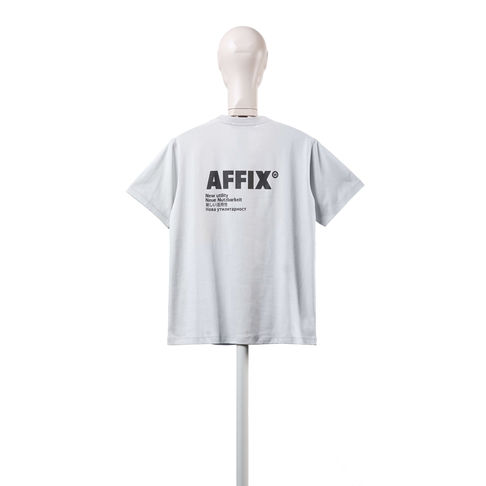 AFFIX WORKS AFFX WRKS STANDARDISED LOGO T-SHIRT POWDER GREY