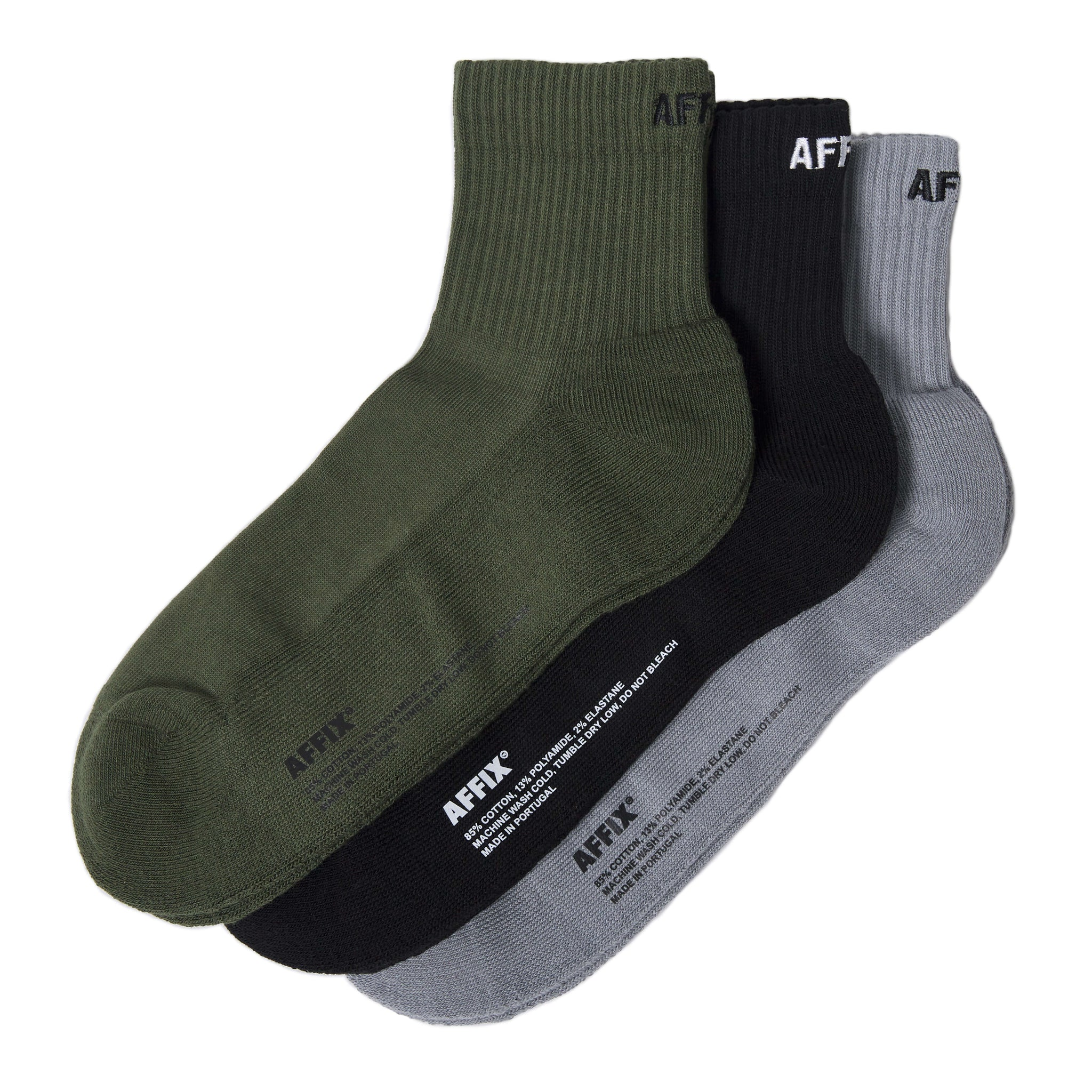 AFFIX WORKS AFFX WRKS SHORT RIB SOCK 3 PACK BLACK/GREY/OLIVE