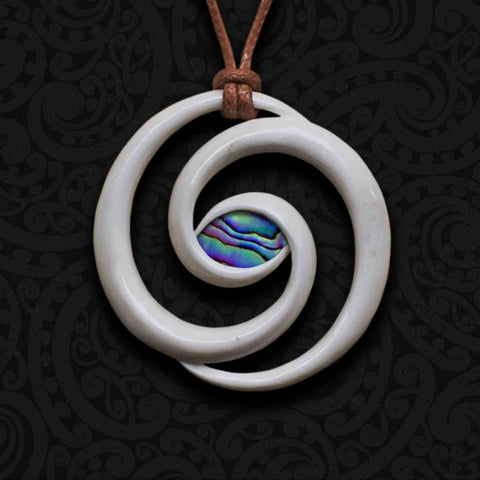 Koru Spiral Bone Carving Necklace