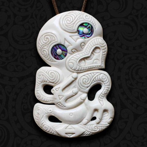 Tiki Te Rira Bone Carving Necklace