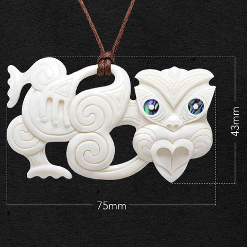 Tiki Bone Carving Necklace
