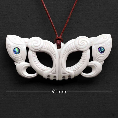 Pekapeka Nguha Bone Carving Necklace