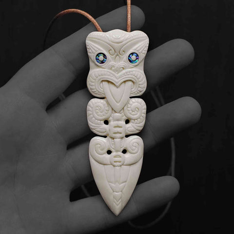 Image of Taiaha Toa Taua Bone Carving Necklace