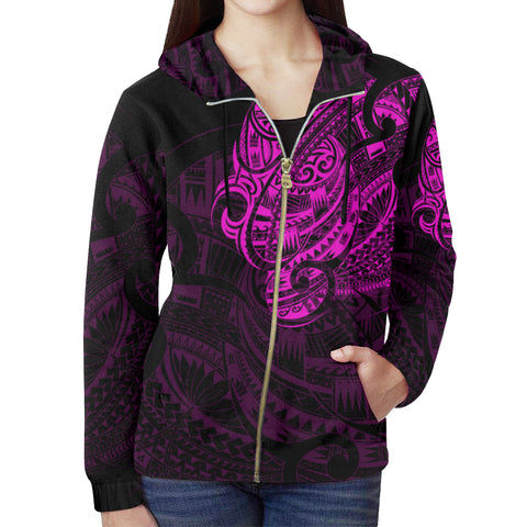 New Zealand Maori Tattoo All Over Print Zip Up Pink Hoodie - 1st New Zealand