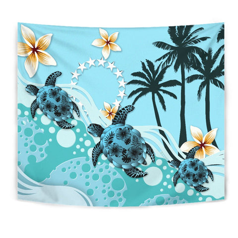 Image of Cook Islands Tapestry - Blue Turtle Hibiscus A24 - 1st New Zealand