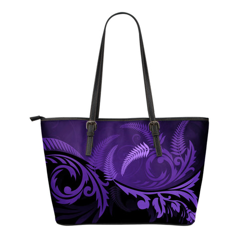 New Zealand Silver Fern Small Leather Tote Bag Purple - 1st New Zealand