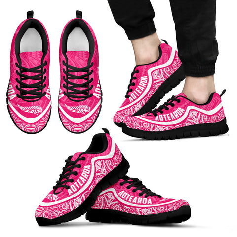 Image of Aotearoa Wave Sneakers - White Pink Color Maori Pattern TH0