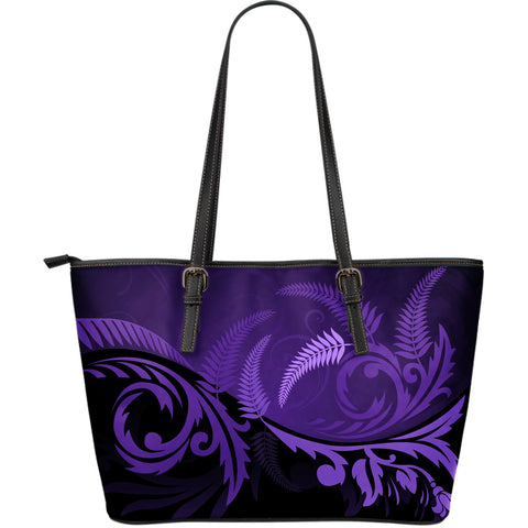 New Zealand Silver Fern Large Leather Tote Bag Purple - 1st New Zealand