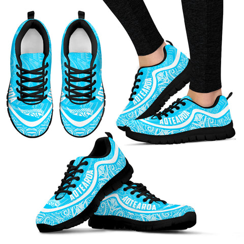 Aotearoa Wave Sneakers - White Blue Color Maori Pattern TH0