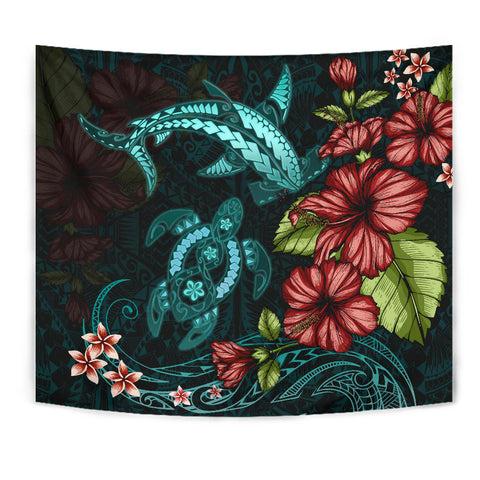 Polynesian Tapestry Turtle And Shark - Hibiscus Turquoise TH5 - 1st New Zealand