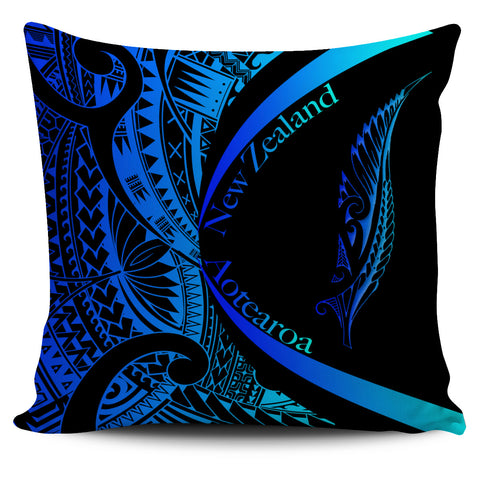 New Zealand Silver Fern Pillow Cover Maori Tattoo Circle Style - Blue J95 - 1st New Zealand