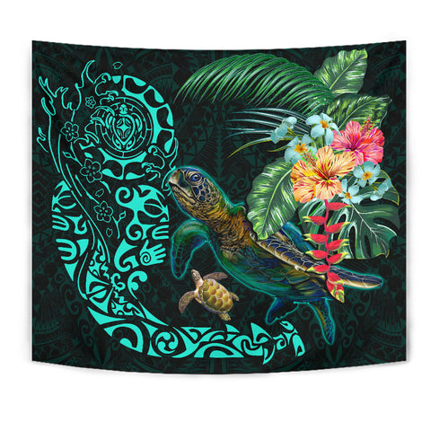 Image of Tiki Polynesian Tapestry Turtle Hibiscus K4 - 1st New Zealand