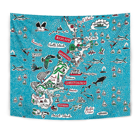 Image of New Zealand Map Tapestry K5 - 1st New Zealand