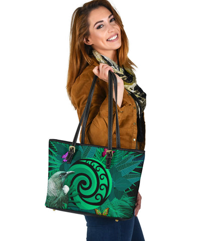 New Zealand Small Leather Tote Koru Fern Mix Tui Bird - Tropical Floral Turquoise K4