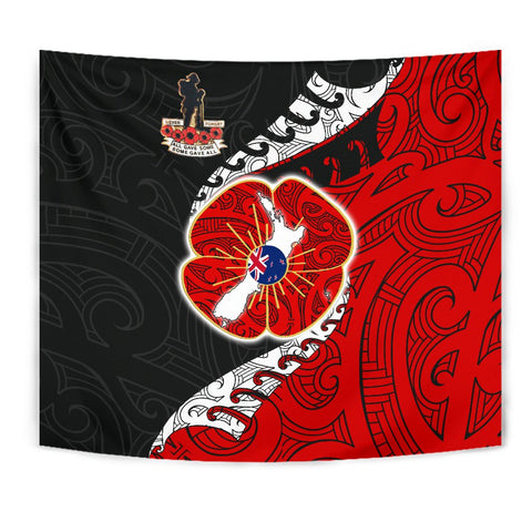Image of Anzac New Zealand Tapestry  - Lest We Forget Poppy Map Silver Fern NZ K4 - 1st New Zealand
