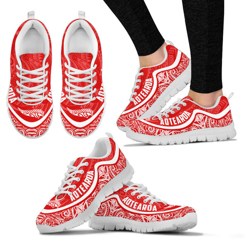 Aotearoa Wave Sneakers - White Red Color Maori Pattern TH0