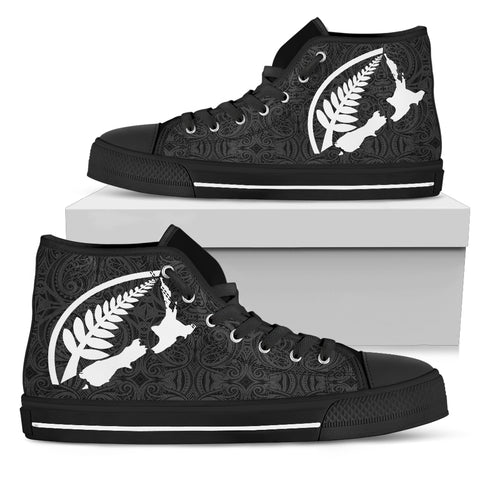 Rugby with Map and Silver Fern High Top Shoes TH0 - 1st New Zealand
