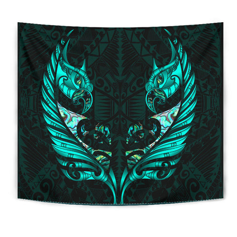 New Zealand Tapestry Manaia Paua Fern Wing - Turquoise K4 - 1st New Zealand