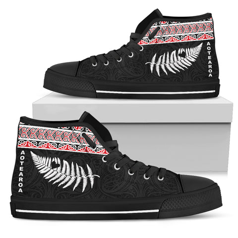 Maori Aotearoa Silver Fern - Heart Version High Top Shoes K7 - 1st New Zealand