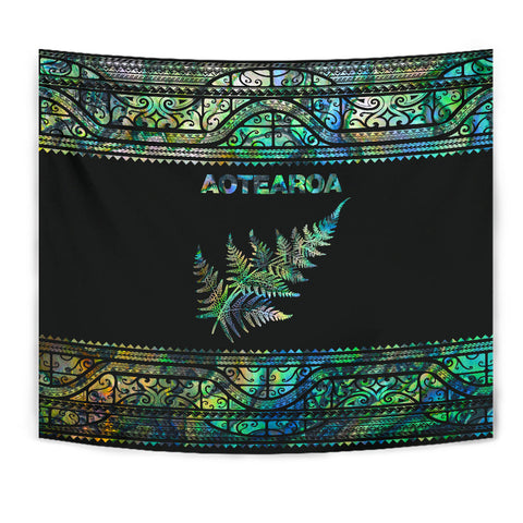 Image of Aotearoa New Zealand Maori Tapestry Silver Fern - Paua Shell K4x - 1st New Zealand