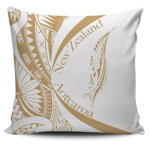 New Zealand Silver Fern Pillow Cover Maori Tattoo Circle Style - White J95