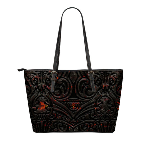 New Zealand Warriors Small Leather Tote Maori Tiki Vocalno Style Th00 - 1st New Zealand