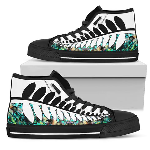 Silver Fern Black White with Paua Shell High Top Shoes K4 - 1st New Zealand