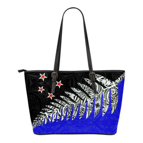 New Zealand Silver Fern Small Leather Tote Bag Blue K4 - 1st New Zealand