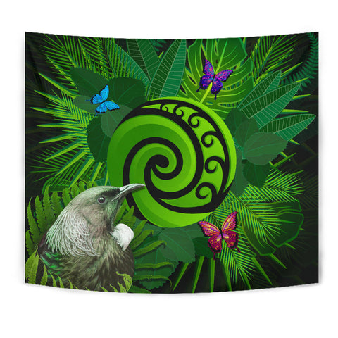 New Zealand Tapestry Koru Fern Mix Tui Bird - Tropical Floral K4