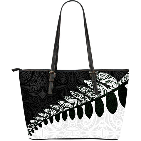 New Zealand Silver Fern Large Leather Tote Bag Black White K4 - 1st New Zealand