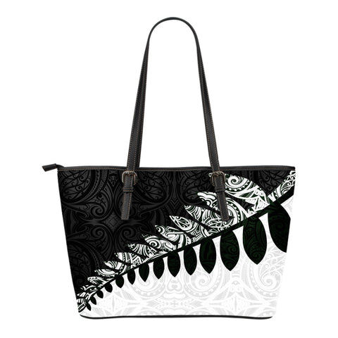 New Zealand Silver Fern Small Leather Tote Bag Black White K4 - 1st New Zealand
