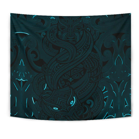 New Zealand Tapestry, Maori Gods Tumatauenga (God of War) - Blue K4 - 1st New Zealand