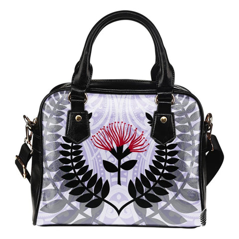 New Zealand Shoulder Handbag Maori Silver Fern With Pohutukawa Flower 02 TH1 - 1st New Zealand