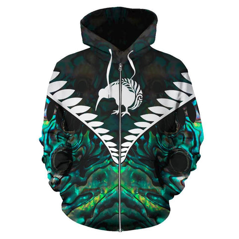 Kiwi Silver Fern Classic Zip Up Hoodie Paua Shell K4 - 1st New Zealand