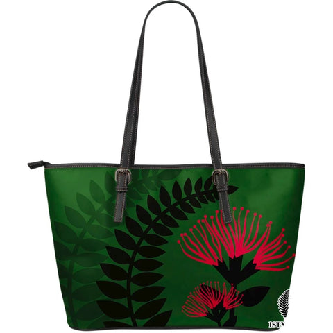 New Zealand Large Leather Tote Bag Maori Silver Fern 04 TH1 - 1st New Zealand