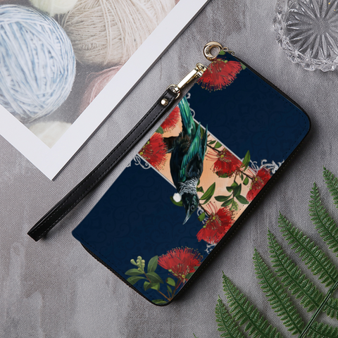 Image of New Zealand Tui with Pohutukawa Wallet K54 - 1st New Zealand