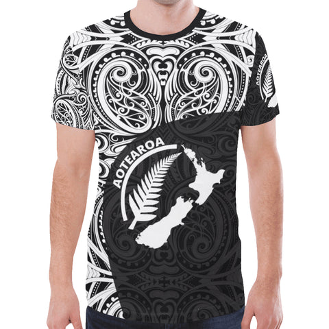 Aotearoa Rugby with Map and Silver Fern T-Shirts TH90 - 1st New Zealand