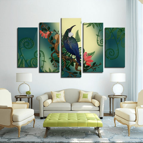 Image of New Zealand Tui Bird Framed Canvas (5 Pieces) - 1st New Zealand