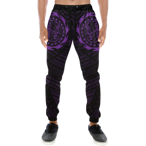 Maori Tangaroa Tattoo New Zealand Sweatpants with Black mix Purple color - Front - For Men