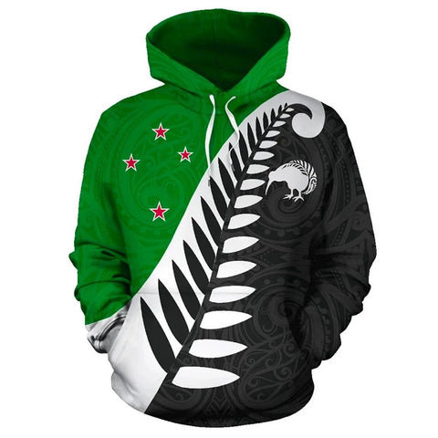 Koru Fern New Zealand Hoodie Green K9