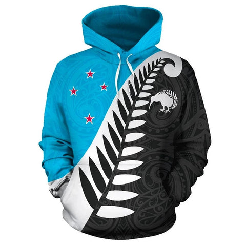 Koru Fern New Zealand Hoodie Blue K9