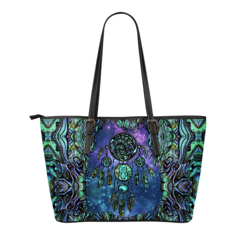 New Zealand Dreamcatcher Small Leather Tote Paua Shell K4
